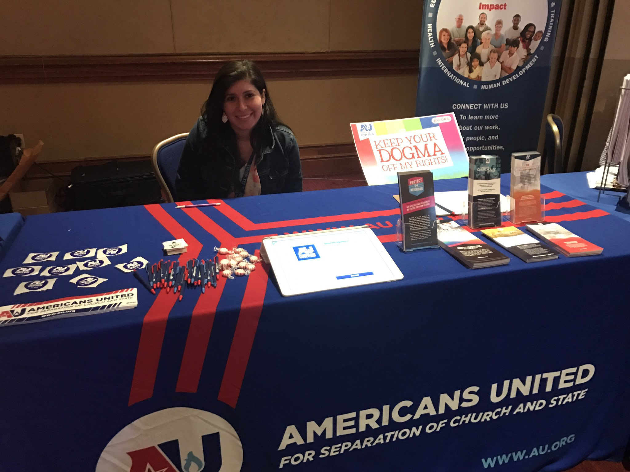 Come stop by our table @HRC 's #TimeToTHRIVE conference today in D.C.! Religion is no excuse to discriminate against LGBTQ people. https://t.co/liey6soFld