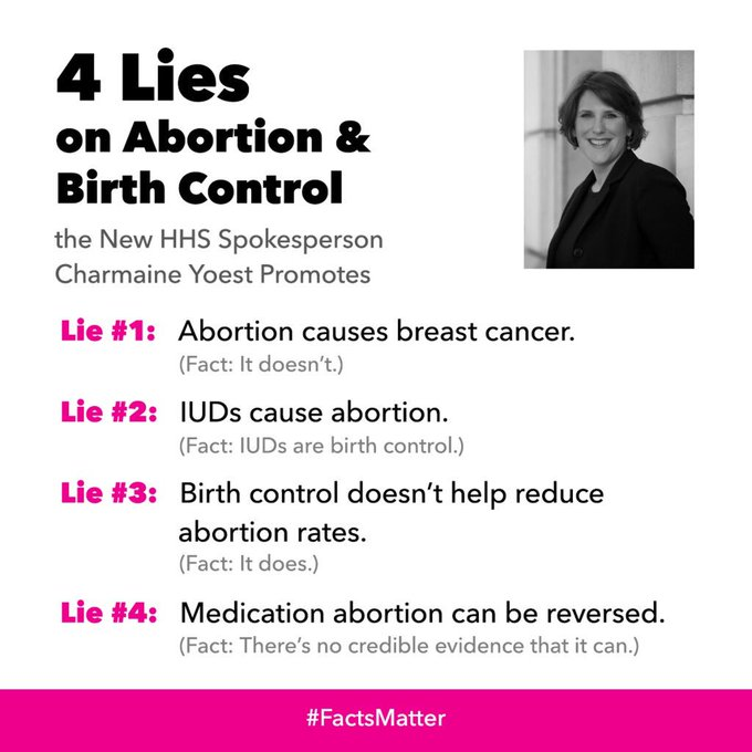 Shameful: Trump is appointing Charmaine Yoest—who lies about women's health—as spokesperson on health 😤 #FactsMatter https://t.co/QzIGkfmvjH