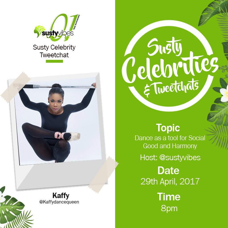 We are still chatting with @Kaffydancequeen on dance for social good, her responses have been super! #SustyCelebChats #OneYearofSustyVibes https://t.co/eRMyKUoBQU