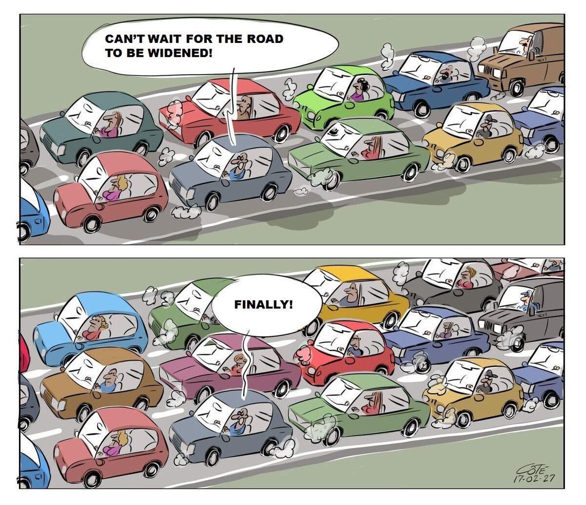 """Brent Toderian on Twitter: """"It's related to the proven tendancy for new  freeway capacity to quickly fill up, referred to as #inducedtraffic or the  #lawofcongestion.… https://t.co/QbnM4fBNwA"""""""