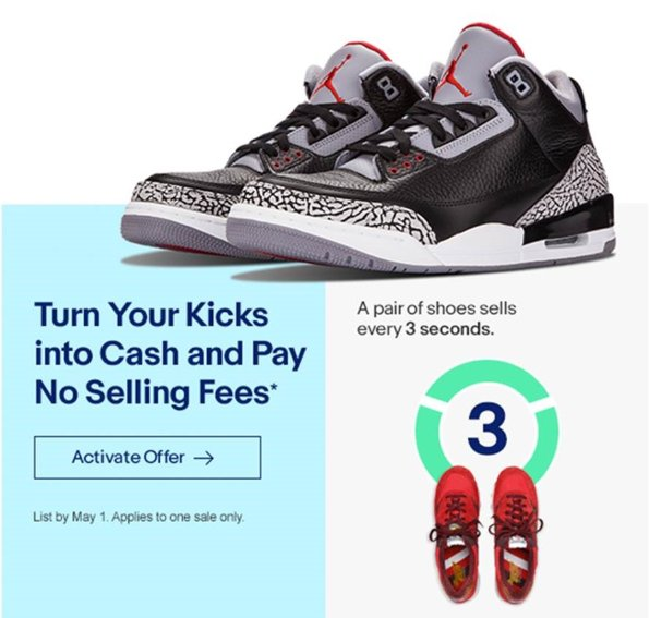Ebay On Twitter Turn Your Kicks Into Cash Pay No Selling Fees Activate Your Account And List By 5 1 Sneakercon Https T Co Xyjfl5bcz8 Https T Co Ov36whgq35
