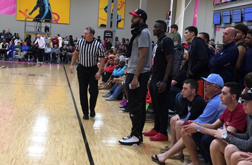 Christian Watford and Victor Oladipo reunite here tonight at EYBL to watch Christian's brother Trendon.#iubb https://t.co/ukMAXLJ8nV