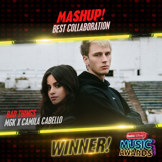 Congratulations to MGK & @Camila_Cabello for winning #Mashup! Best Collaboration with their song #BadThings! #RDMA