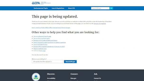 EPA announces its website will be updated to match Trump administration's views on issues like climate change https://t.co/aQS3Sj5tKQ