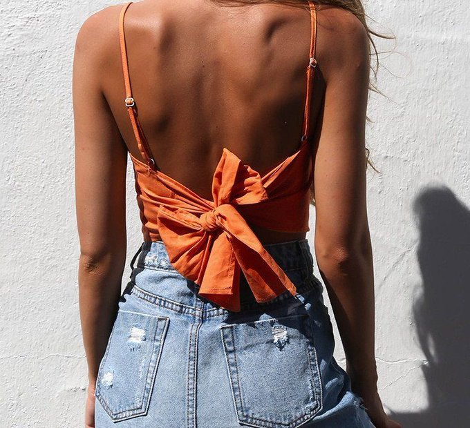 'Sascha' Bow Back Crop Top