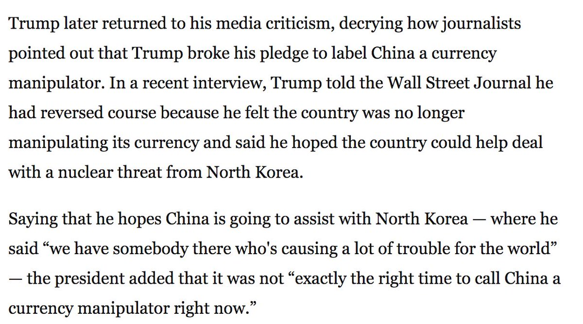 Trump is also not happy that reporters pointed out how he pledged to label China a currency manipulator, then didn't https://t.co/gs42w5Fvob