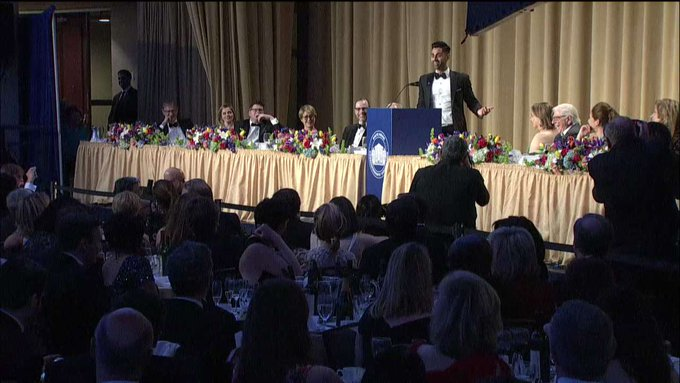 .@hasanminhaj: '[@POTUS] tweets at 3 am *sober*. Who is tweeting at 3 am sober? Donald Trump - b/c it's 10 am in Russia.' #WHCD #WHCD20172017