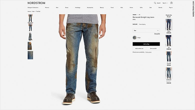 Nordstrom is selling 'heavily distressed' muddy jeans for $425 https://t.co/nIazItlRX9