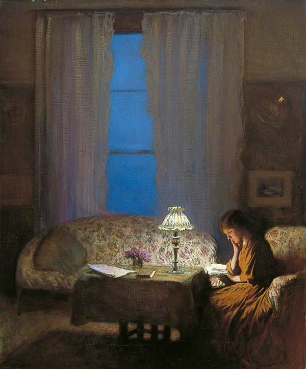 Goodnight George Clausen Reading by Lamplight, 1909