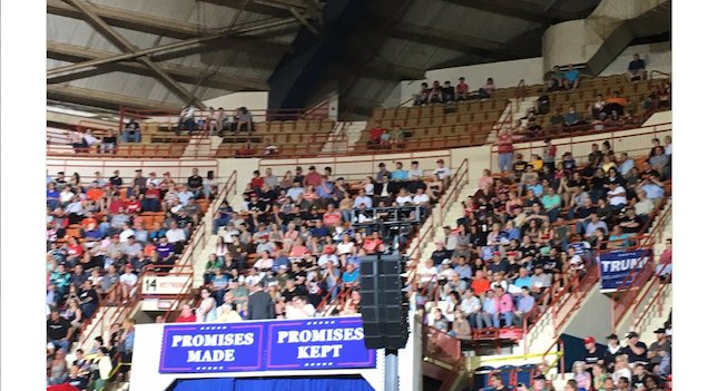 Trump says rally crowd broke 'all-time record' despite rows of empty seats: https://t.co/UNyP18ijI5