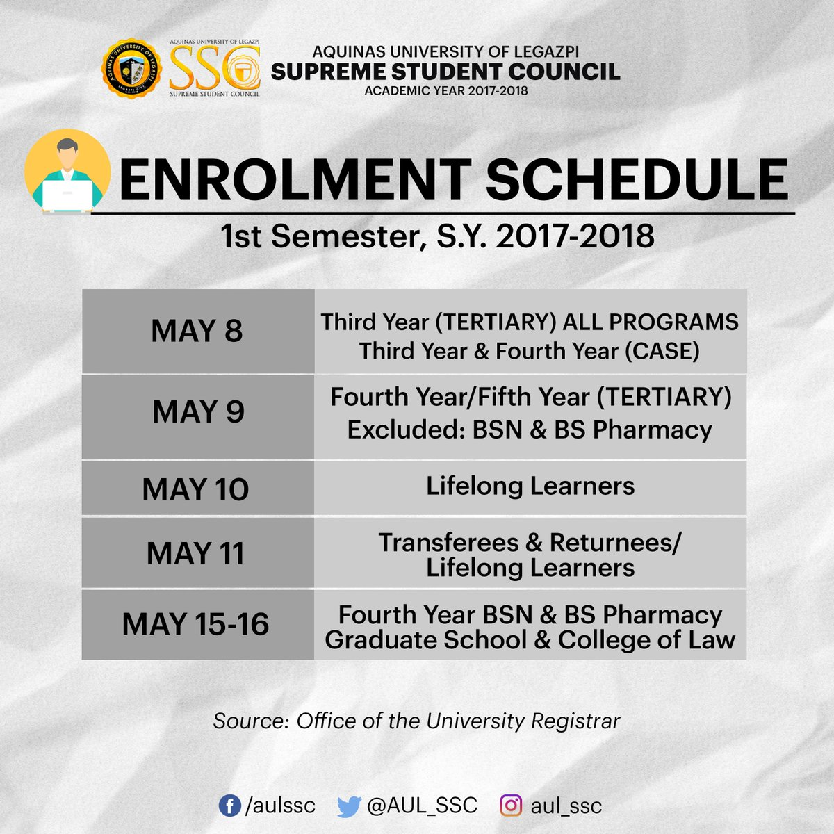 #UPDATE: Tertiary Enrolment schedule for 1st Semester, S.Y. 2017-2018. Please be guided accordingly. <br>http://pic.twitter.com/4Z6tBwaEL9