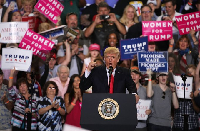 NEW: Trump's campaign-style rally draws contrast with correspondents' dinner https://t.co/fRzd8Vj1fi