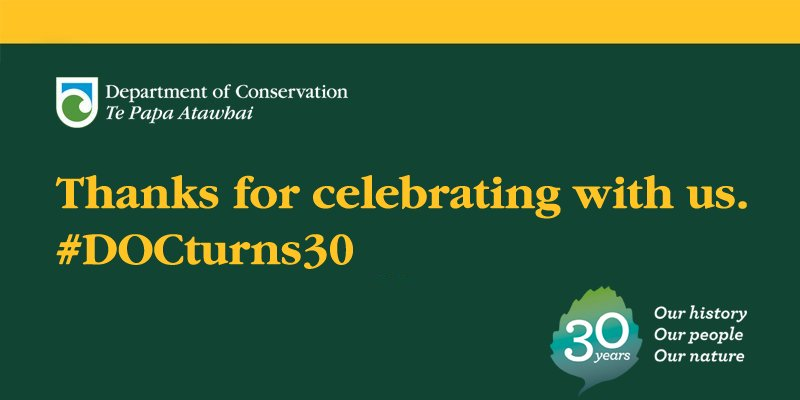 Thanks for taking a step back in time to remember the history and achievements from 30 years of conservation. #DOCturns30 https://t.co/LXuRSwbLgD
