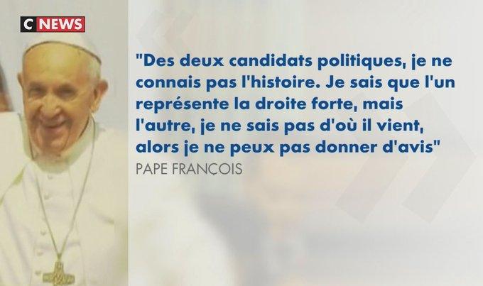 Le #pape #François ne ''sait pas d'où vient'' #Macron https://t.co/cNW8J4eZkX
