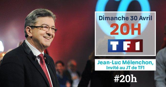 📢 Ce dimanche 30 avril, Jean-Luc Mélenchon est l'invité du 20h de @TF1. Participez avec le hashtag #20h. ➡️Partagez !