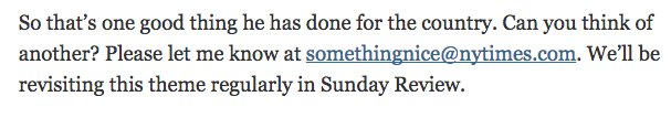 """the nytimes has a """"somethingnice@"""" email for """"nice"""" things about trump fuck off https://t.co/bFJaWpwZUt"""