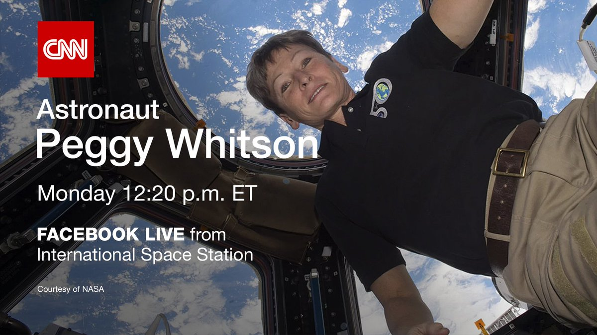 Record-breaking astronaut @AstroPeggy will answer your questions live from space on Facebook, Monday at 12:20pm ET