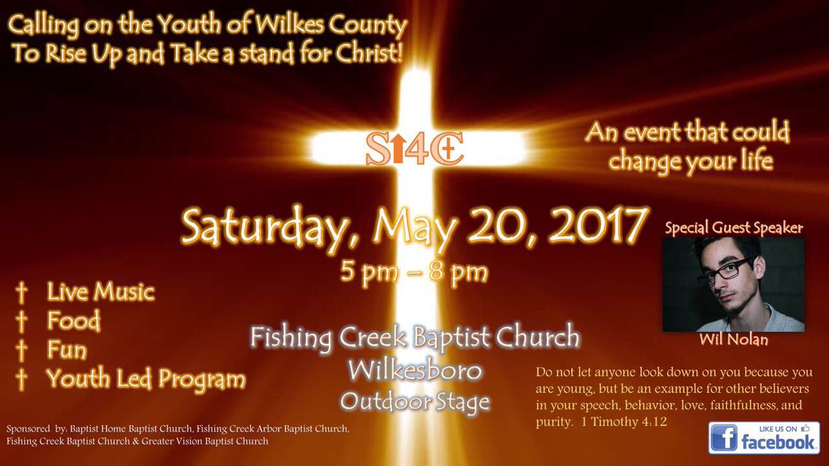"""... All Youth of Wilkes Invited 🙏🏼 Free Food and Music 🙏🏼 Put the date in your calenders 🙏🏼 @ Fishing Creek Baptist Church https://t .co/jYyRLEaCGo"""""""