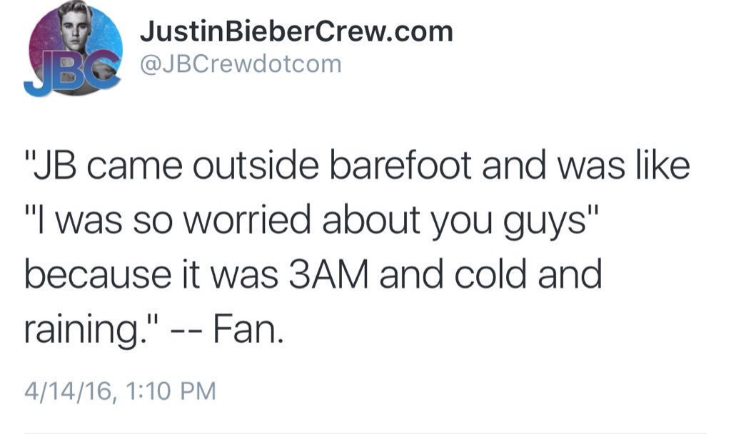 when justin let the fans on the tour bus because he was worried about them https://t.co/aBbw0gOdeQ