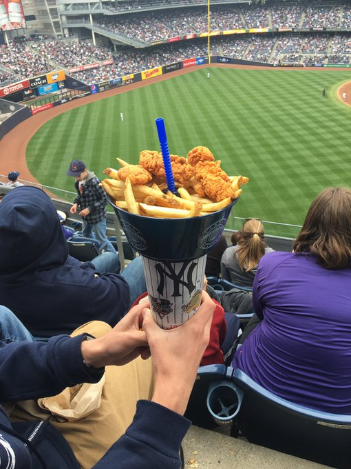 Bowl of chicken and fries, with a straw to your soda through the center. Murica.
