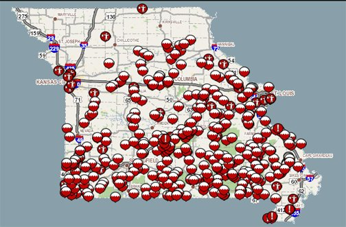 modot on 350 roads are closed check the travel advisory
