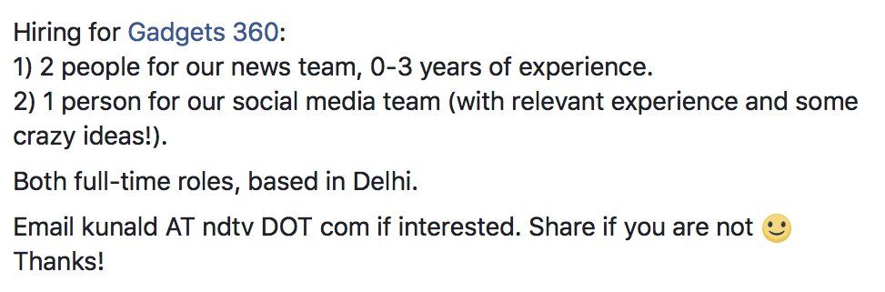 Hiring again for @Gadgets360. Your options: Apply, or RT. Thanks :-) https://t.co/pKRIxSYwqx