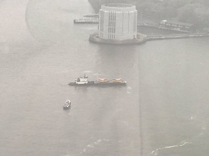 There are two @oscarmayer Weinermobiles on a barge outside my office right now and everyone is totally losing it