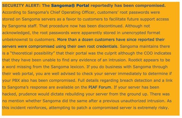 ALERT - Possible Sangoma Portal Breach | PIAF - Your own