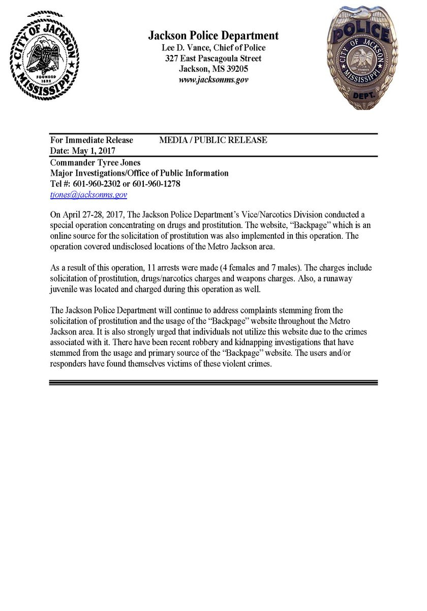 Jackson Police Dept On Twitter Backpage Arrests And Public Service Advisory