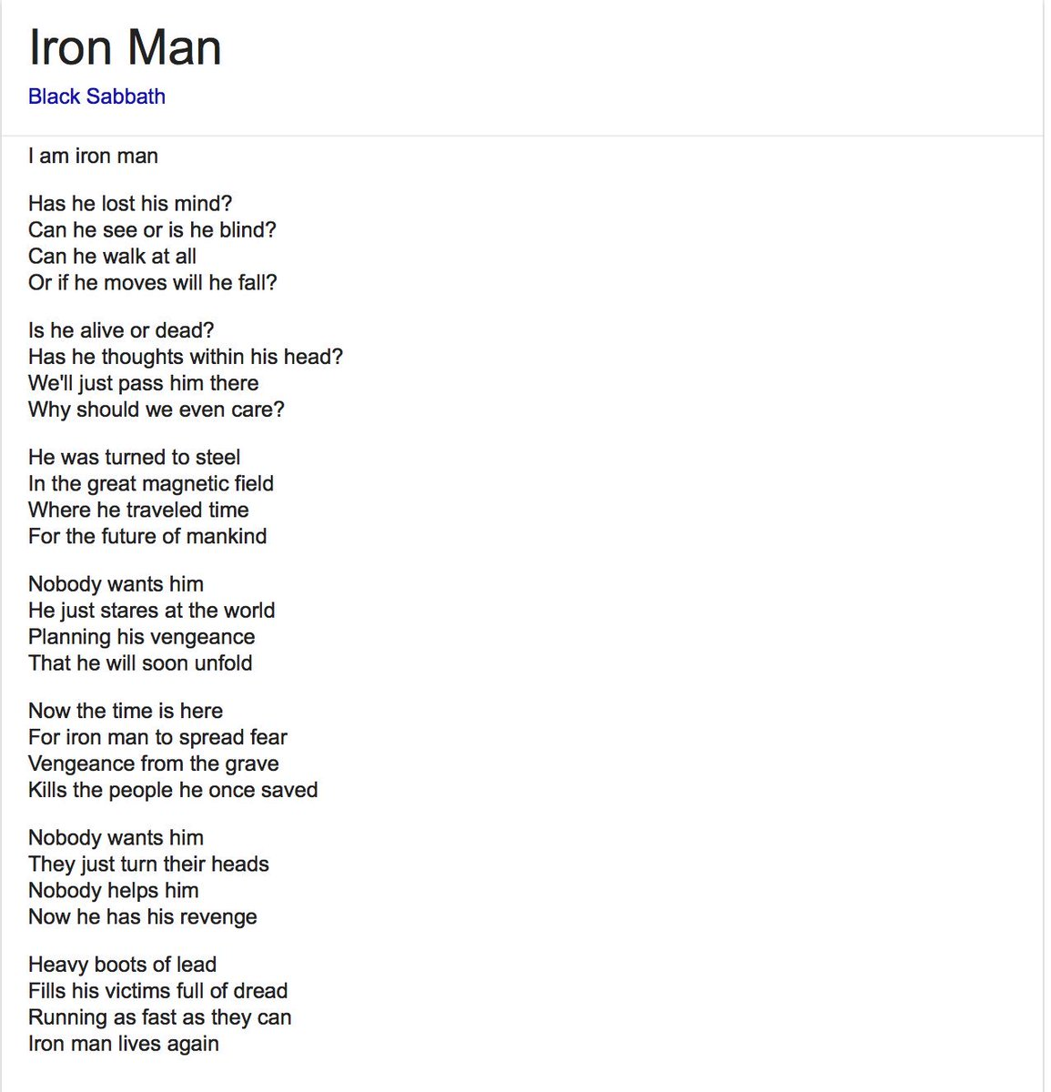 Iron Man - Black Sabbath