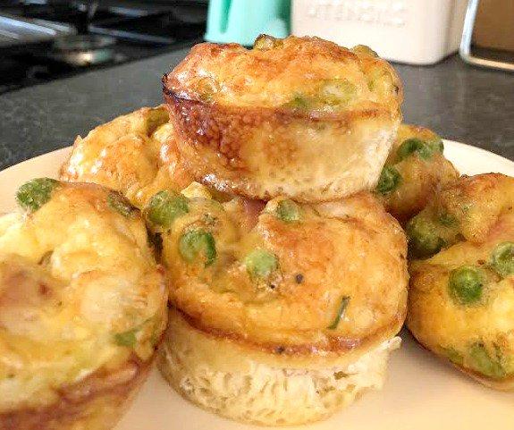 Ham & Pea Egg Muffins