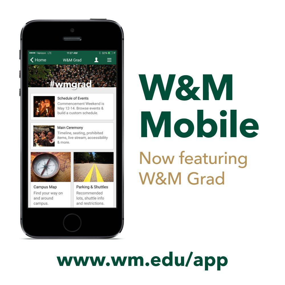 Download W&M Mobile and tap W&M Grad to build a schedule + find parking, maps, updates, instructions & more: https://t.co/Kex0KHoG9T #wmgrad https://t.co/7fPAtCKDs3