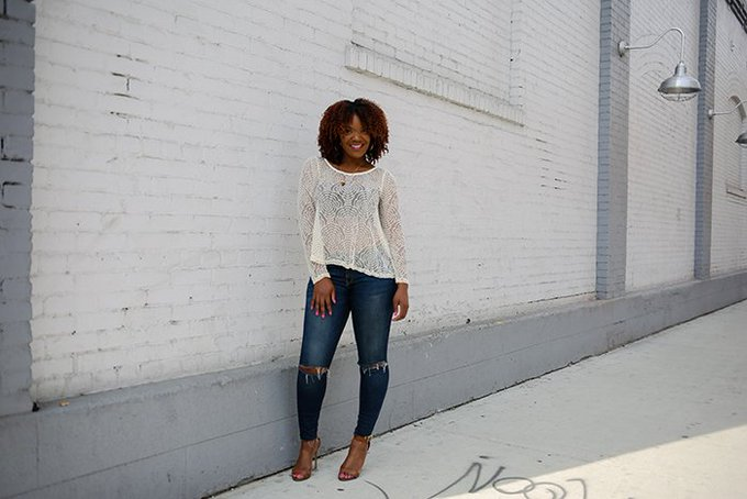 Outfit Inspiration: Ladylike Lace + Ripped Denim