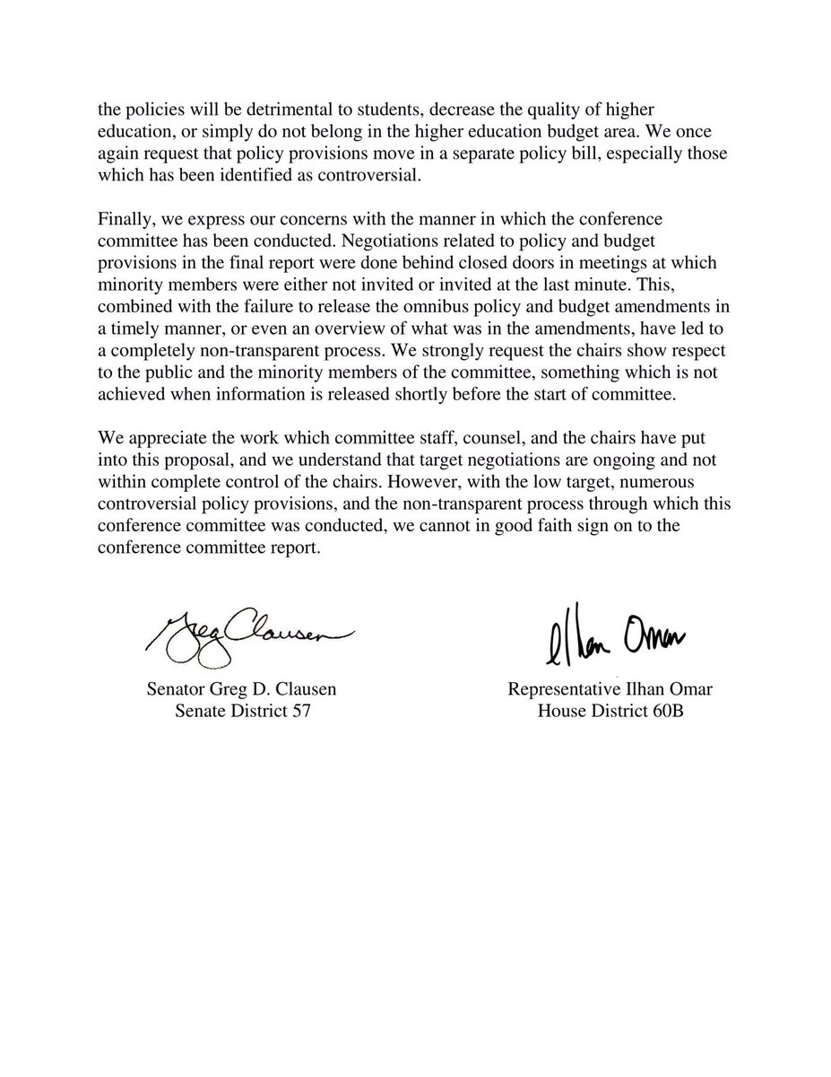Ilhan Omar on Twitter SenGregClausen and I wrote this letter to – Good Faith Letter