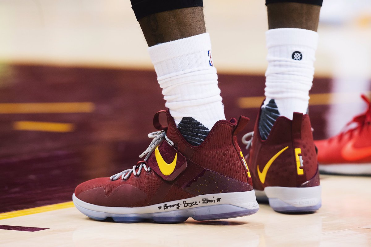 finest selection 4c8eb f184f lebron james in the nike lebron 14 with the names of his children written  on his