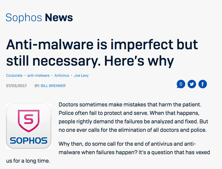 RT @Sophos: Anti-malware is imperfect but still necessary. Here's why: https://t.co/B0VHxwP3ao via @BillBrenner70 https://t.co/8vlA4dqXi8