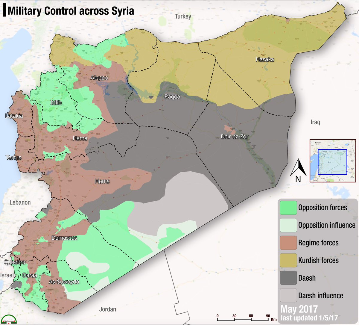 fsa news on twitter new map syria military control across syria at the start of may 2017
