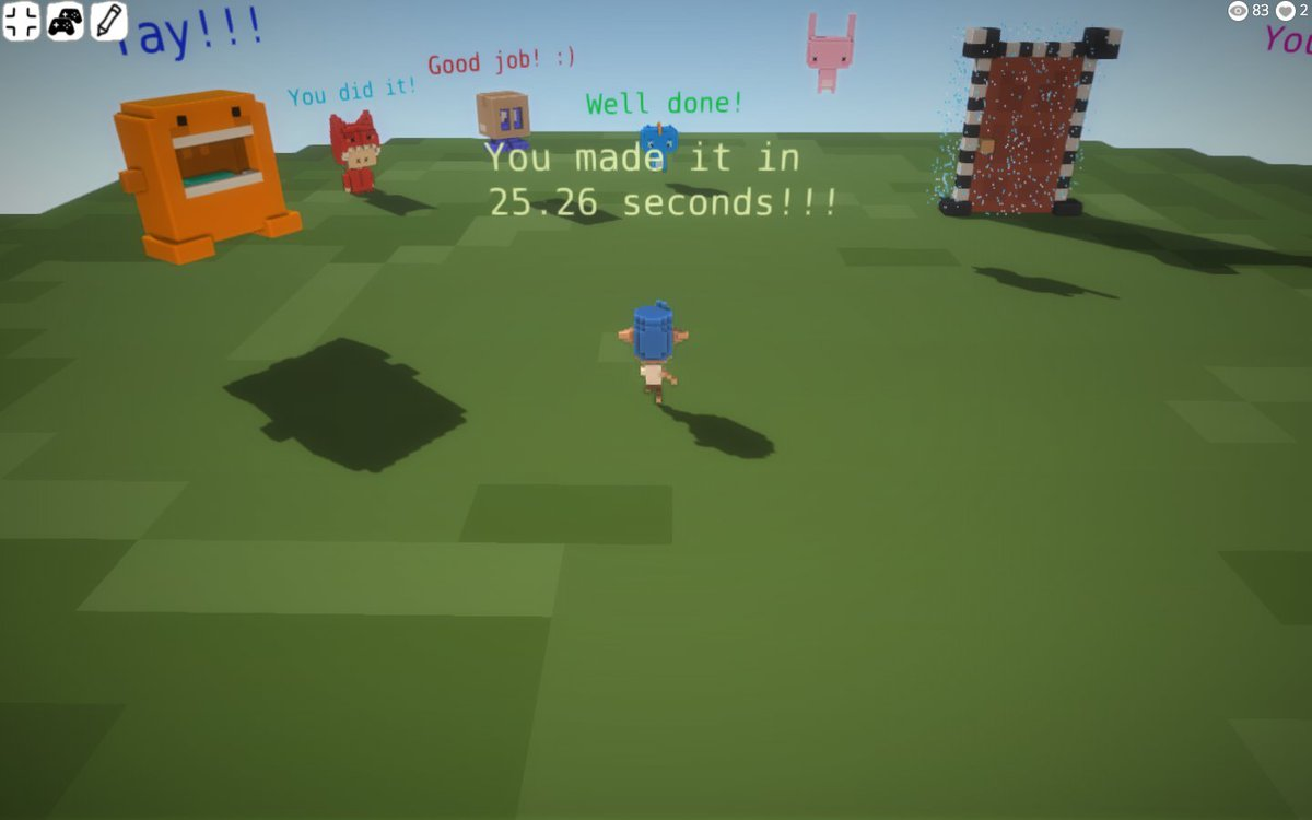Playable obstacle course:dotbigbang.com/game/0a5a7fcb6… Music by @AdhesiveWombat - soundcloud.com/adhesivewombat Can you beat my time? :P #indiedev