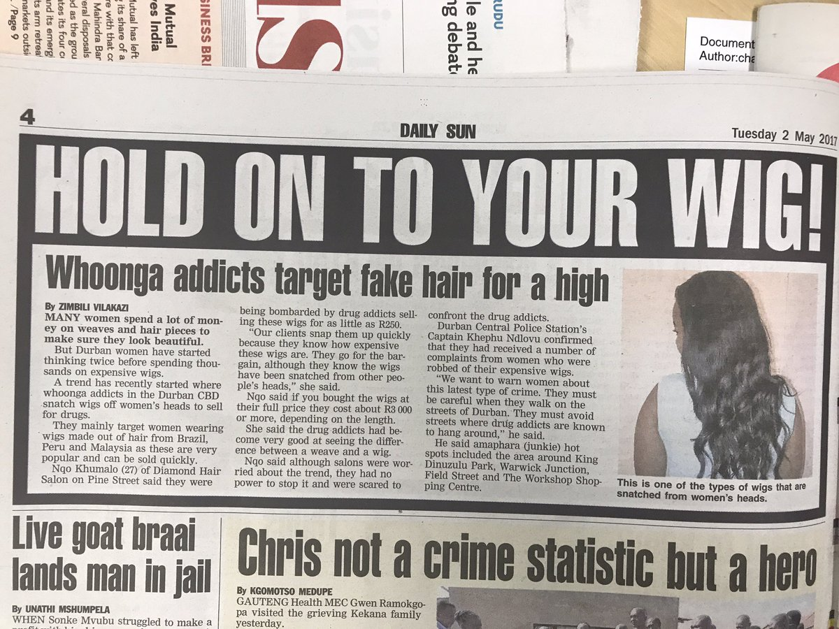 Erk! Nyaope boys are stealing wigs off women's head to sell for drugs? https://t.co/yl55rgZzzz