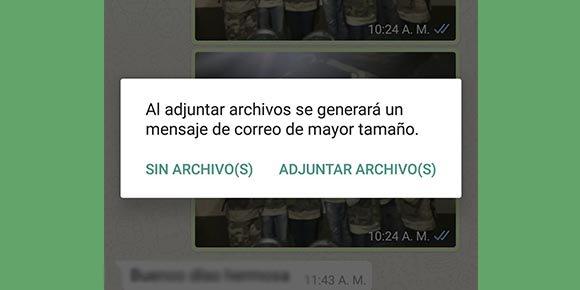 ¿Cómo enviar chats de WhatsApp como correo?