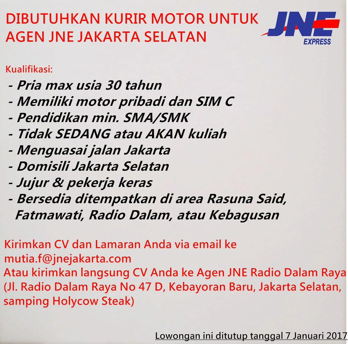 Jne Express Jakarta On Twitter Lowongan Kerja Kurir Motor Agen