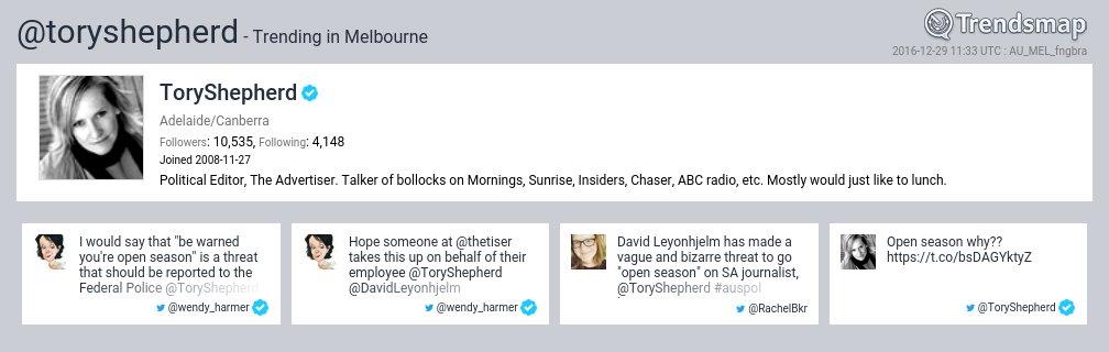 ToryShepherd, @toryshepherd is now trending in #Melbourne  https://t.co/ftTVjMw0Bf https://t.co/3OEAMMUROw