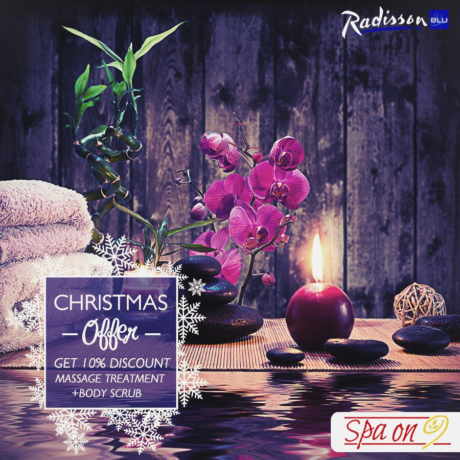 #Christmas_Offer: Massage treatment + Body Scrub will get 10% Discount . For reservation: +2 0101 73 0000 3 ##RadissonBluCairoHeliopolis https://t.co/T7TD8OKORC