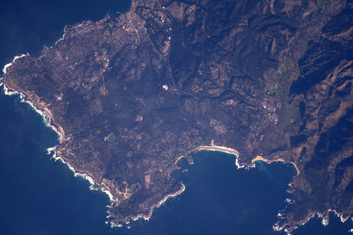 This is what Pebble Beach and Cypress Point look like from an astronaut's point of view