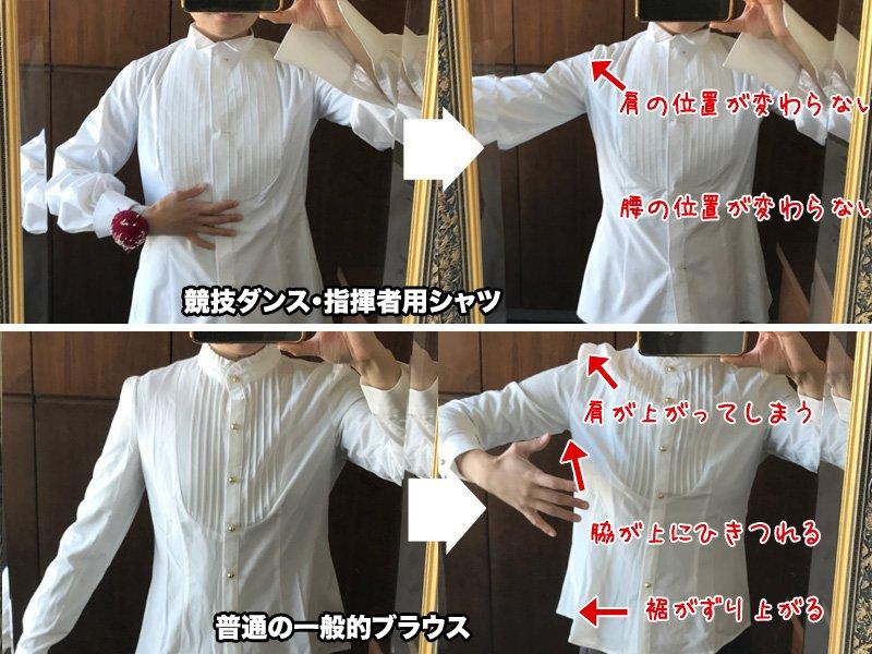 実は、競技ダンスや指揮者の着るシャツは特別な型紙を作るんだよ。知ってた?  腕を上げ下げしても、肩の…