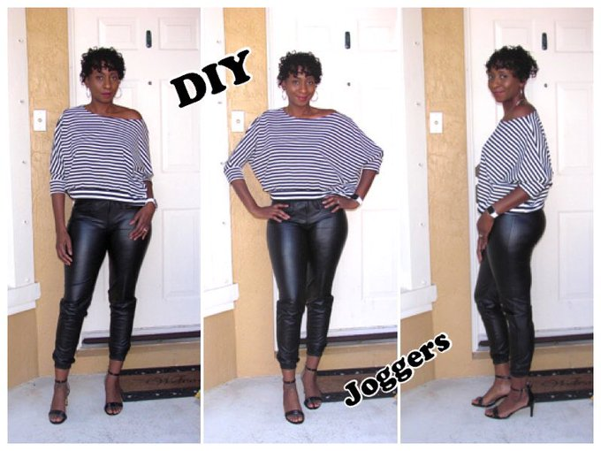 DIY Faux Leather Joggers from scratch