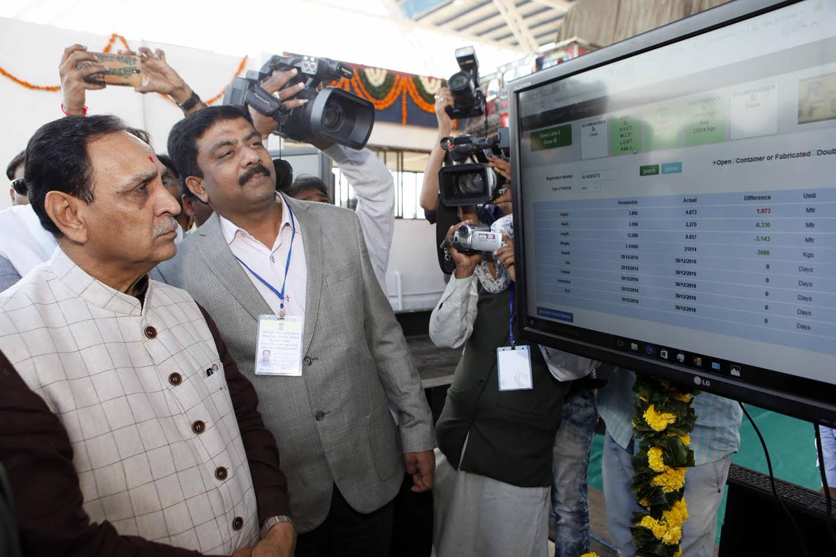 Gujarat CM opens first AVMS RTO check post at Shamlaji
