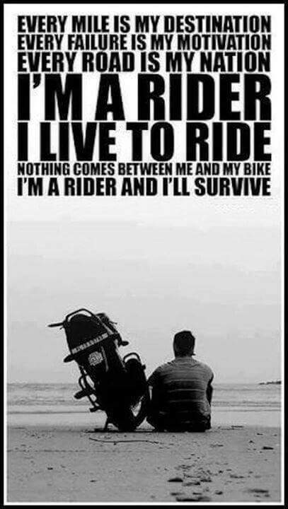 Motorcycle Rider... Every mile is my destination! https://t.co/8E39KPbgXu