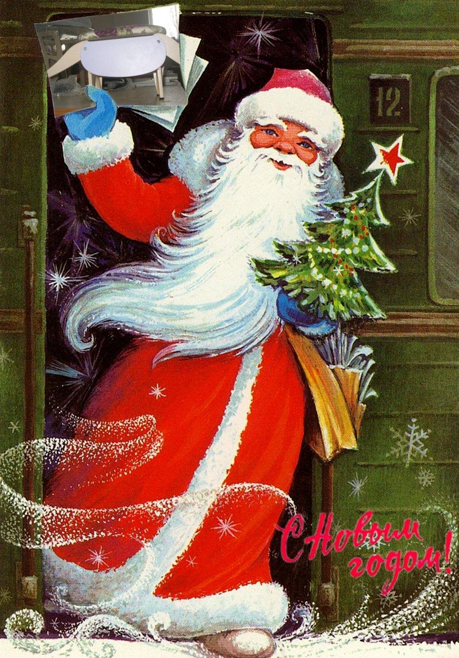 Дед мороз на новогодних открытках, жара