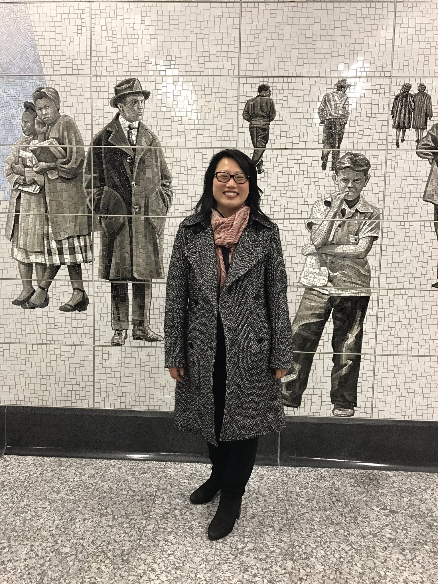 robin cembalest on twitter jean shin with her dazzling mosaics at 2nd ave subway 39 s 63rd st. Black Bedroom Furniture Sets. Home Design Ideas